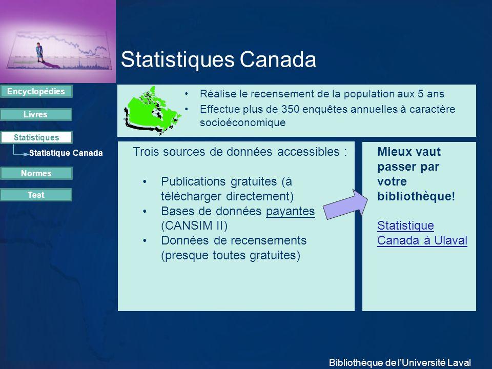 Statistiques Canada Réalise le recensement de la population aux 5 ans Effectue plus de 350 enquêtes annuelles à caractère socioéconomique Trois source