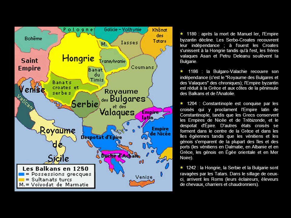 * 1180 : après la mort de Manuel Ier, lEmpire byzantin décline. Les Serbo-Croates recouvrent leur indépendance ; à l'ouest les Croates s'unissent à la