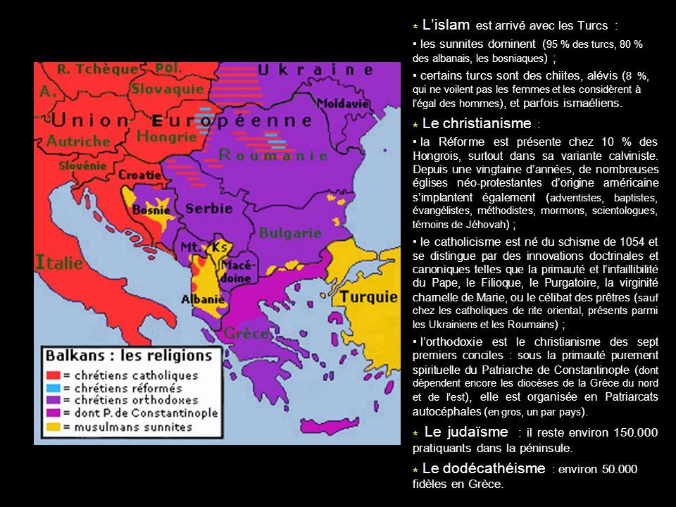 * Lislam est arrivé avec les Turcs : les sunnites dominent ( 95 % des turcs, 80 % des albanais, les bosniaques ) ; certains turcs sont des chiites, al