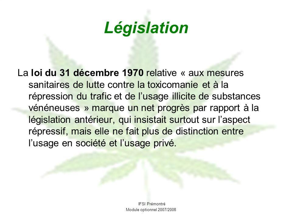 Législation La loi du 31 décembre 1970 relative « aux mesures sanitaires de lutte contre la toxicomanie et à la répression du trafic et de lusage illi