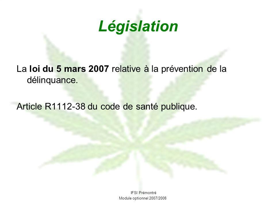 Législation La loi du 5 mars 2007 relative à la prévention de la délinquance. Article R1112-38 du code de santé publique. IFSI Prémontré Module option