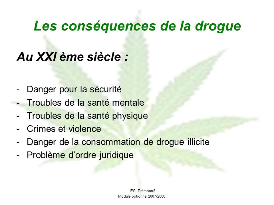 Les conséquences de la drogue Au XXI ème siècle : -Danger pour la sécurité -Troubles de la santé mentale -Troubles de la santé physique -Crimes et vio