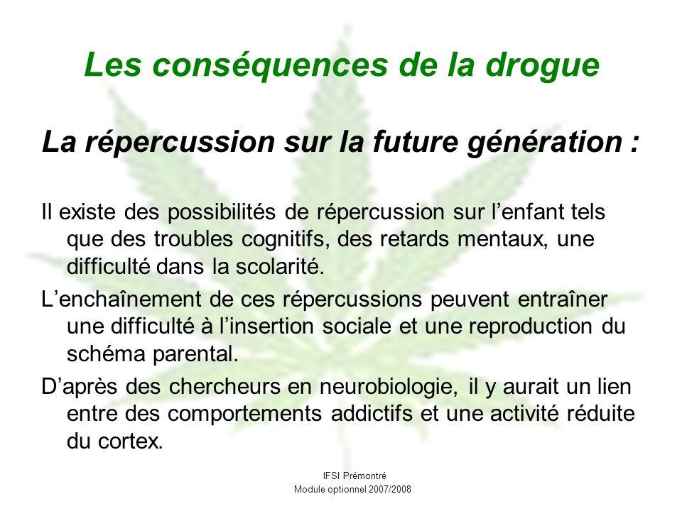Les conséquences de la drogue La répercussion sur la future génération : Il existe des possibilités de répercussion sur lenfant tels que des troubles