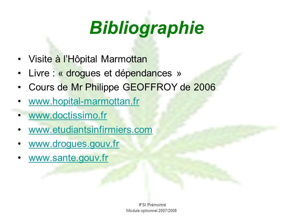 Bibliographie Visite à lHôpital Marmottan Livre : « drogues et dépendances » Cours de Mr Philippe GEOFFROY de 2006 www.hopital-marmottan.fr www.doctis