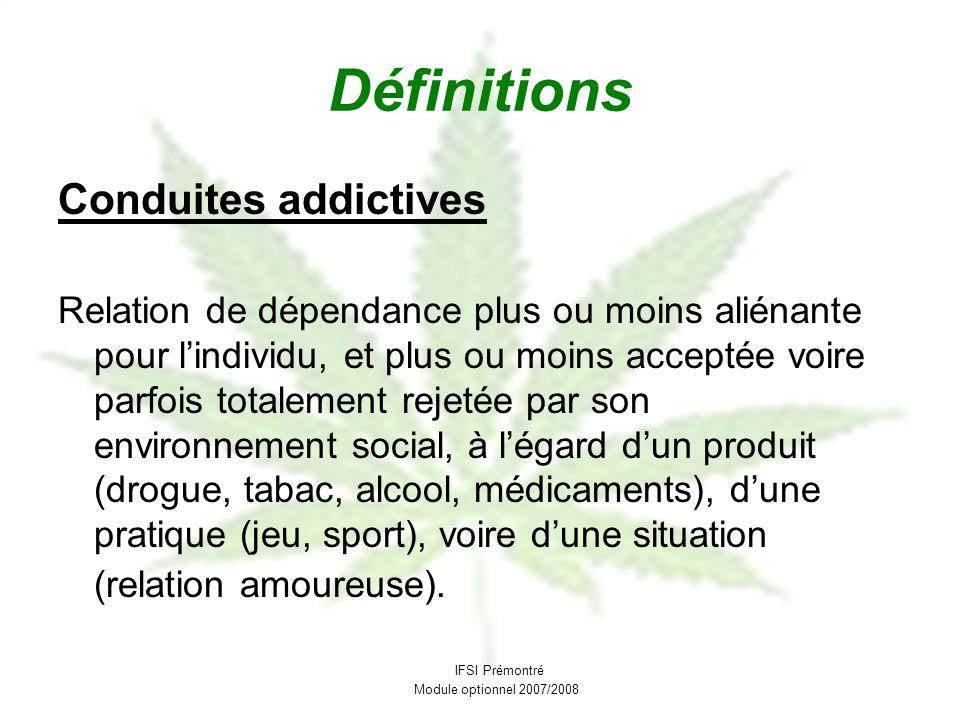 Définitions Conduites addictives Relation de dépendance plus ou moins aliénante pour lindividu, et plus ou moins acceptée voire parfois totalement rej