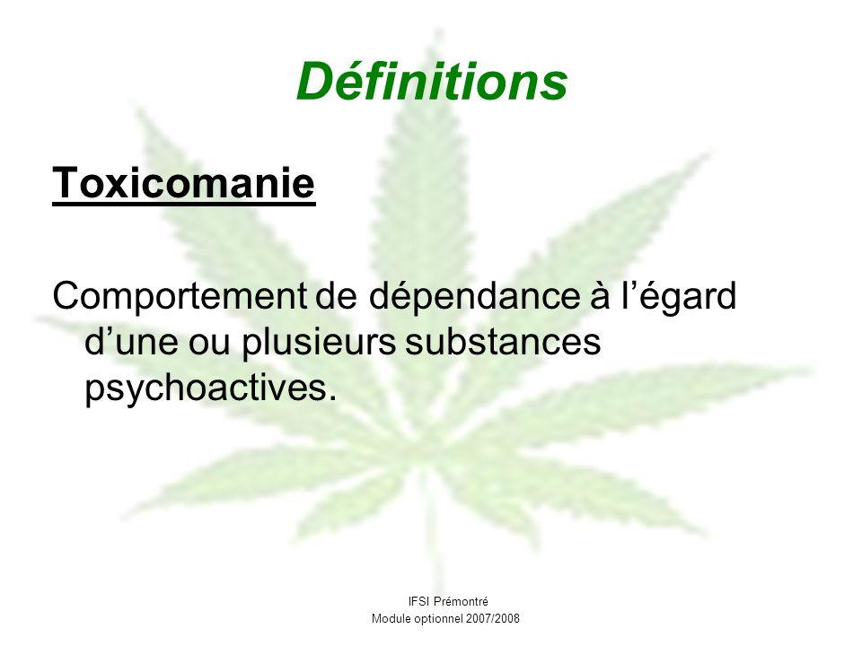 Définitions Toxicomanie Comportement de dépendance à légard dune ou plusieurs substances psychoactives. IFSI Prémontré Module optionnel 2007/2008