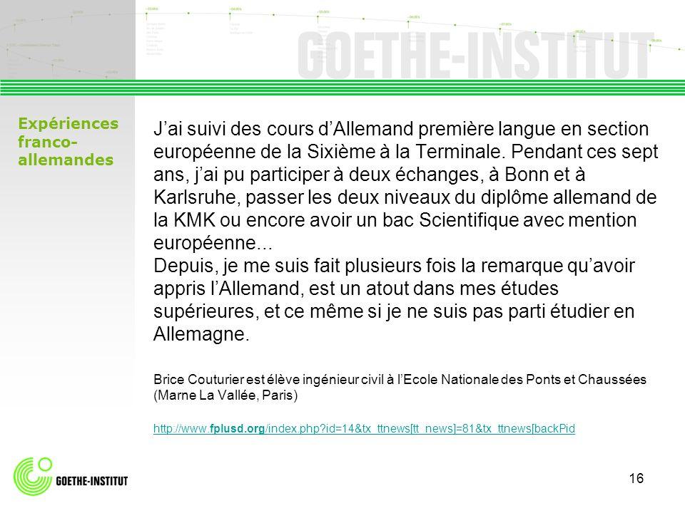 Lothar Mader Goethe- Institut Paris 17 avenue dIéna 75116 Paris Tél.: 01 44 43 92 30 Fax: 01 44 43 92 40 Mail: mader@paris.goethe.org http://www.goethe.de/paris Contact