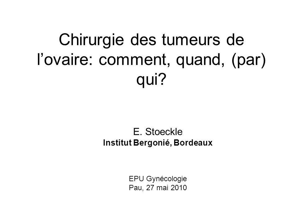 Les cancers de lovaire Survie 200337% (Berrino) Hill, Markman FIGO Annual ReportIAIVTous 1958-6261%2,6%27% 1993-9590%17%48%