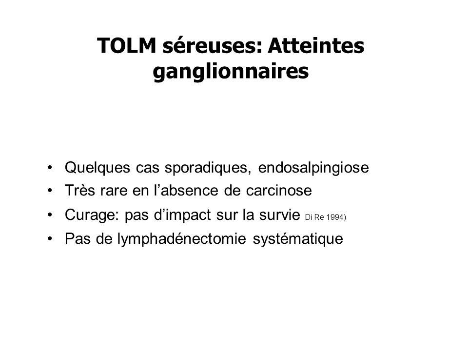 TOLM séreuses: Atteintes ganglionnaires Quelques cas sporadiques, endosalpingiose Très rare en labsence de carcinose Curage: pas dimpact sur la survie