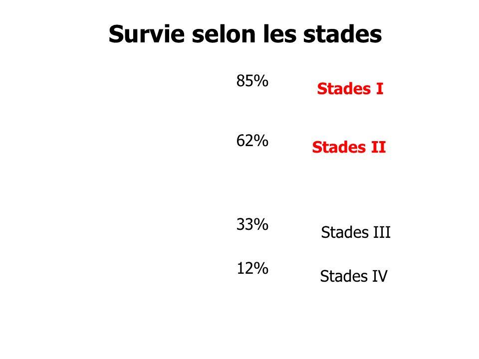 Survie selon les stades Stades I Stades II Stades III Stades IV 85% 62% 33% 12%