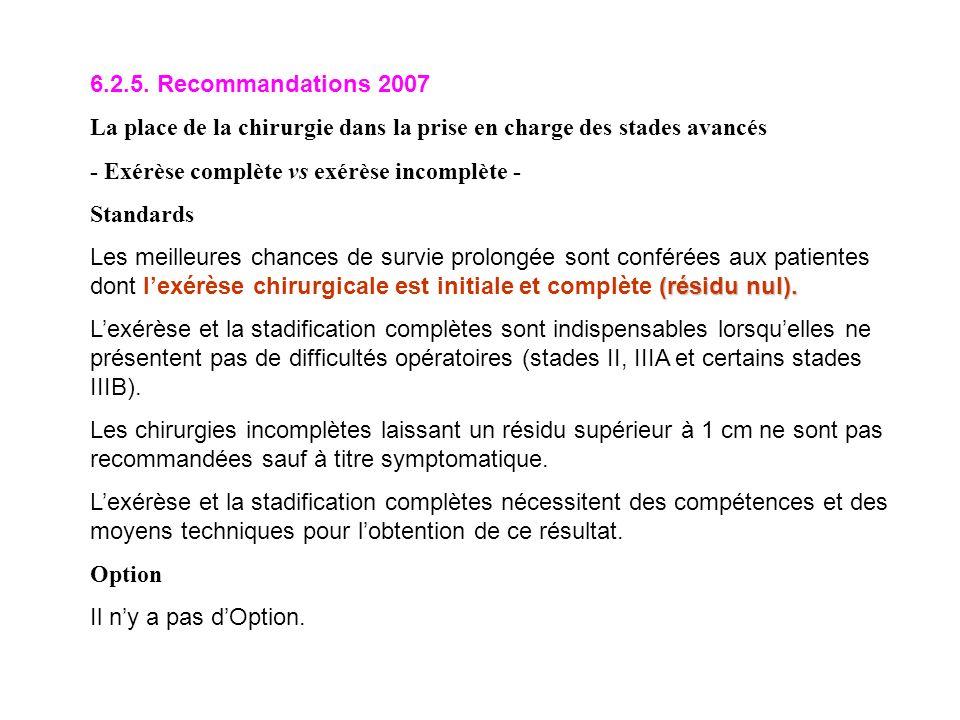 6.2.5. Recommandations 2007 La place de la chirurgie dans la prise en charge des stades avancés - Exérèse complète vs exérèse incomplète - Standards (