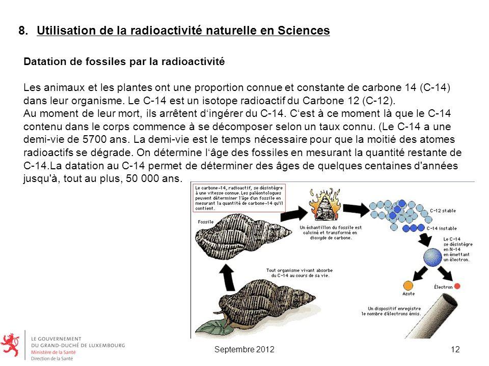 Datation de fossiles par la radioactivité Les animaux et les plantes ont une proportion connue et constante de carbone 14 (C-14) dans leur organisme.
