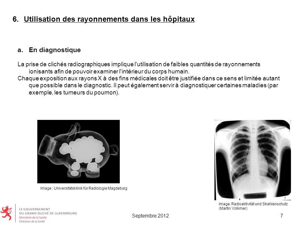 6.Utilisation des rayonnements dans les hôpitaux a.En diagnostique La prise de clichés radiographiques implique l'utilisation de faibles quantités de