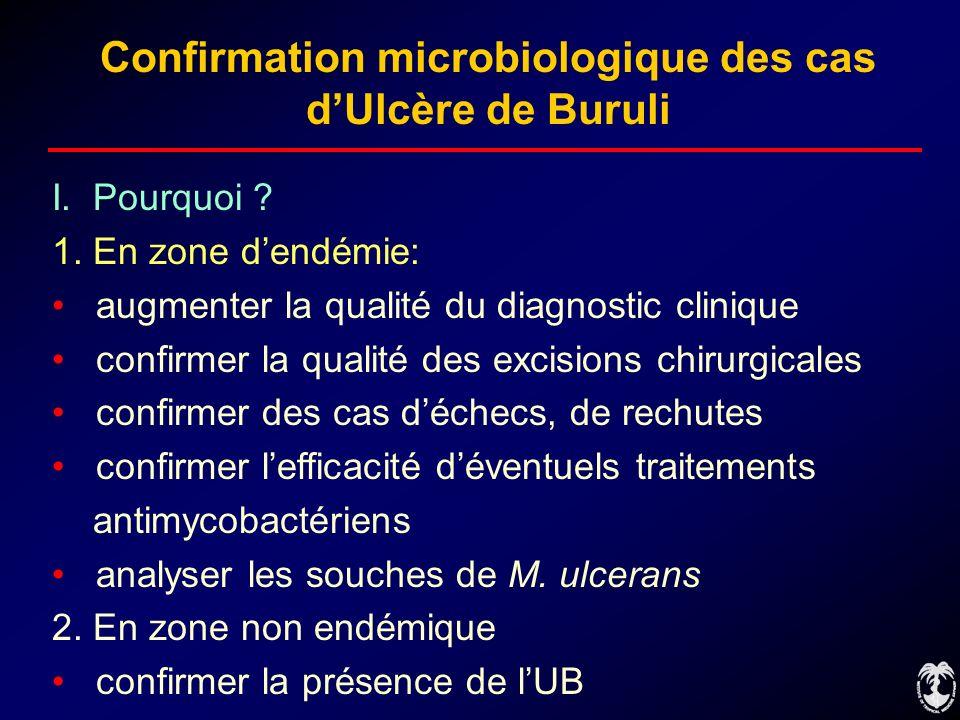 Confirmation microbiologique des cas dUlcère de Buruli I. Pourquoi ? 1. En zone dendémie: augmenter la qualité du diagnostic clinique confirmer la qua