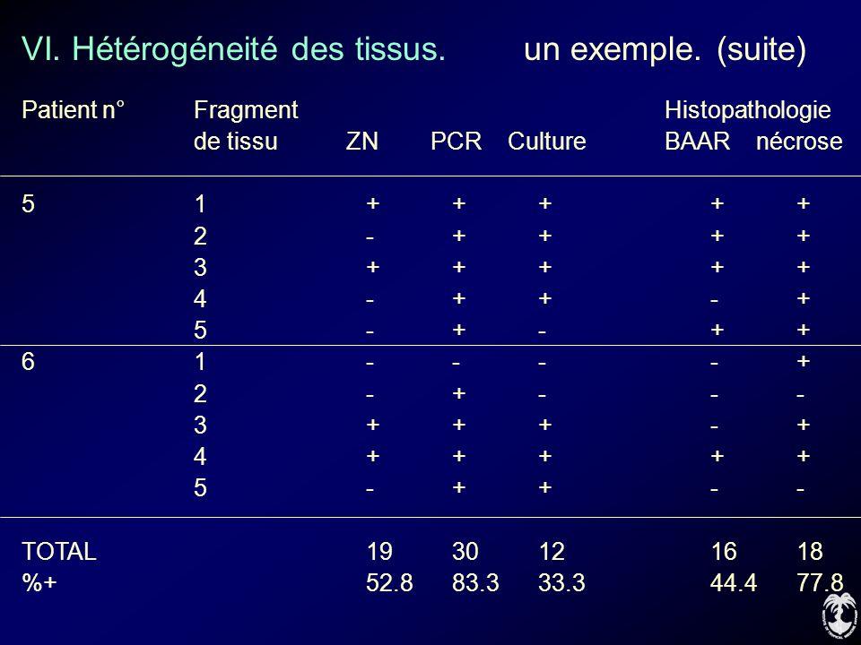 VI. Hétérogéneité des tissus. un exemple. (suite) Patient n°Fragment Histopathologie de tissu ZN PCR Culture BAAR nécrose 51+++++ 2-++++ 3+++++ 4-++-+