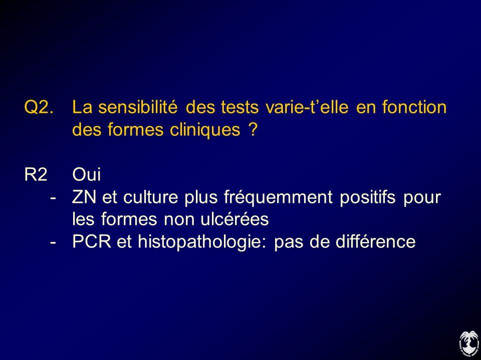 Q2. La sensibilité des tests varie-telle en fonction des formes cliniques ? R2Oui -ZN et culture plus fréquemment positifs pour les formes non ulcérée