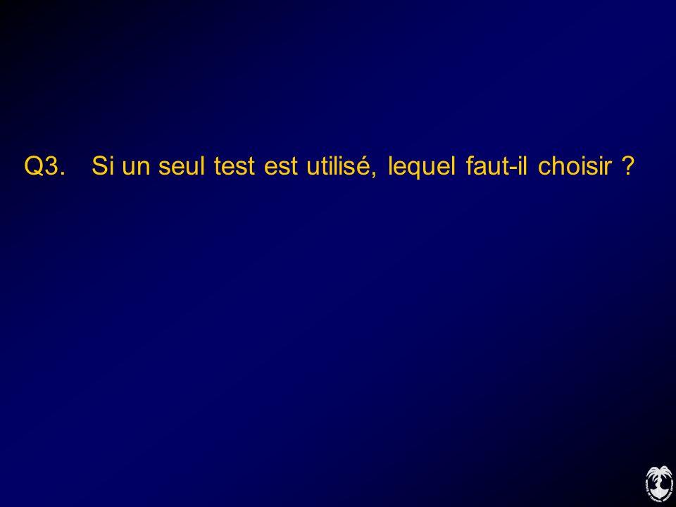 Q3. Si un seul test est utilisé, lequel faut-il choisir ?