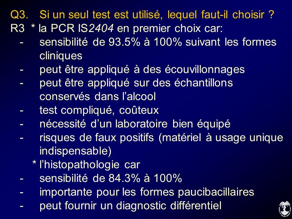 Q3. Si un seul test est utilisé, lequel faut-il choisir ? R3 * la PCR IS2404 en premier choix car: -sensibilité de 93.5% à 100% suivant les formes cli