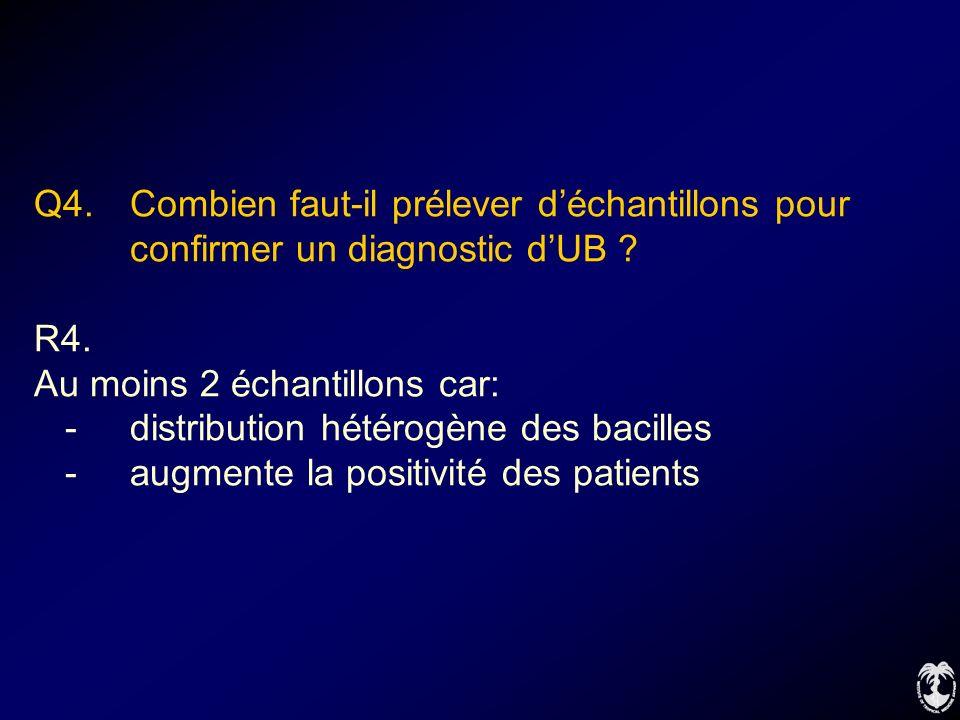 Q4. Combien faut-il prélever déchantillons pour confirmer un diagnostic dUB ? R4. Au moins 2 échantillons car: -distribution hétérogène des bacilles -