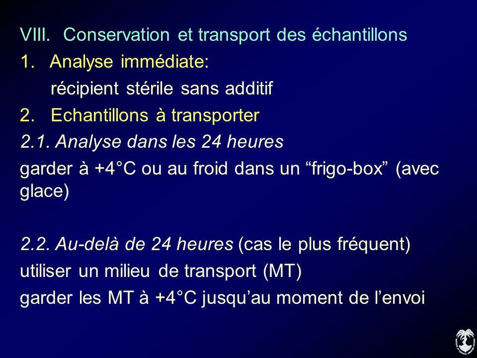 VIII. Conservation et transport des échantillons 1. Analyse immédiate: récipient stérile sans additif 2. Echantillons à transporter 2.1. Analyse dans