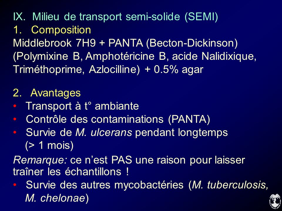 IX.Milieu de transport semi-solide (SEMI) 1.