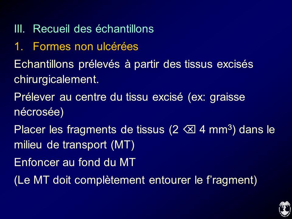 III. Recueil des échantillons 1. Formes non ulcérées Echantillons prélevés à partir des tissus excisés chirurgicalement. Prélever au centre du tissu e
