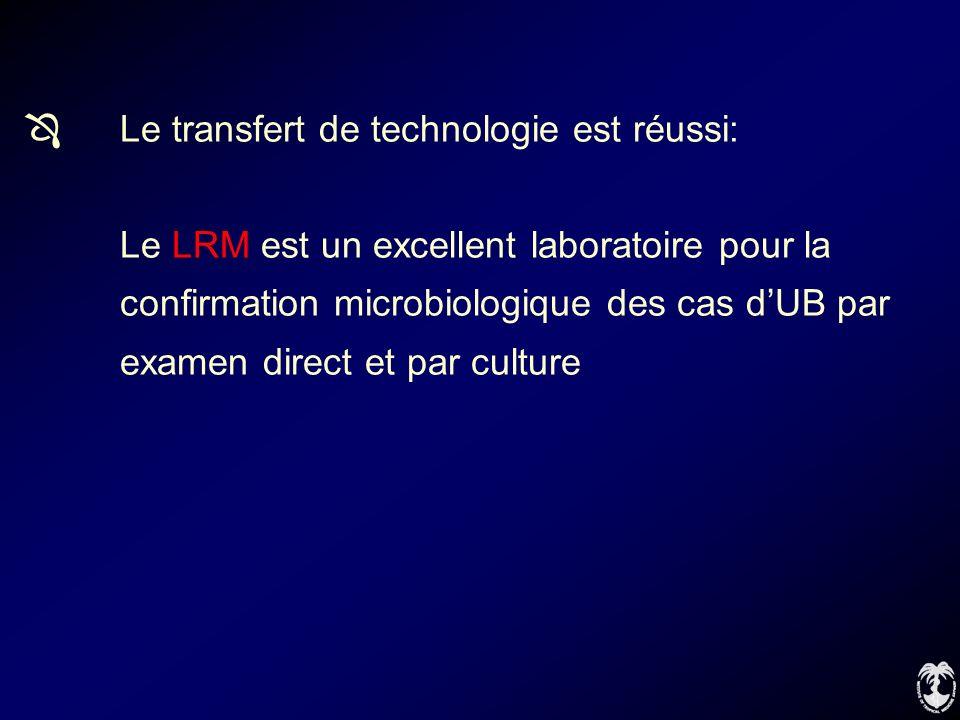 Le transfert de technologie est réussi: Le LRM est un excellent laboratoire pour la confirmation microbiologique des cas dUB par examen direct et par