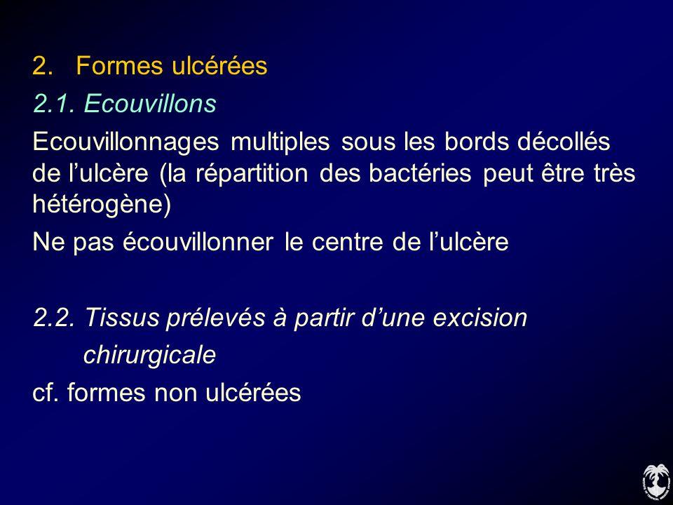 2. Formes ulcérées 2.1. Ecouvillons Ecouvillonnages multiples sous les bords décollés de lulcère (la répartition des bactéries peut être très hétérogè