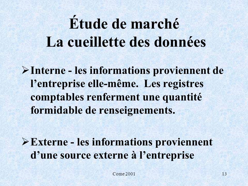 Come 200113 Étude de marché La cueillette des données Interne - les informations proviennent de lentreprise elle-même. Les registres comptables renfer
