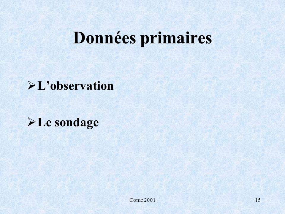 Come 200115 Données primaires Lobservation Le sondage
