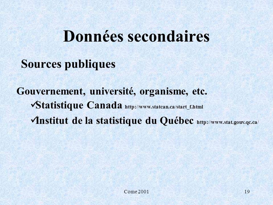 Come 200119 Données secondaires Sources publiques Gouvernement, université, organisme, etc. Statistique Canada http://www.statcan.ca/start_f.html Inst