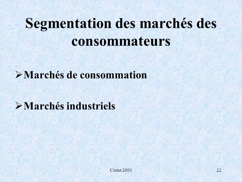 Come 200122 Segmentation des marchés des consommateurs Marchés de consommation Marchés industriels
