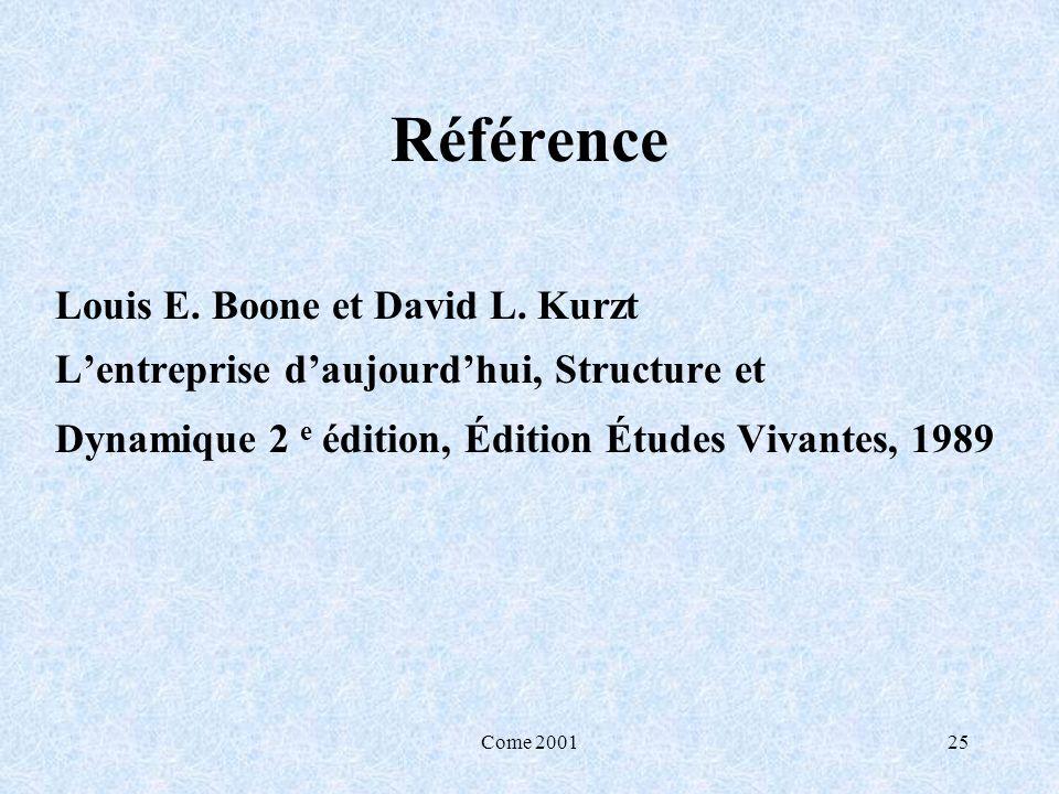 Come 200125 Référence Louis E. Boone et David L. Kurzt Lentreprise daujourdhui, Structure et Dynamique 2 e édition, Édition Études Vivantes, 1989