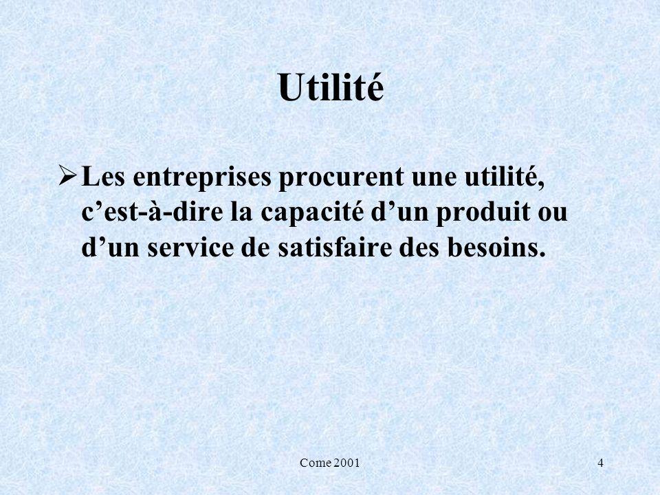Come 20014 Utilité Les entreprises procurent une utilité, cest-à-dire la capacité dun produit ou dun service de satisfaire des besoins.