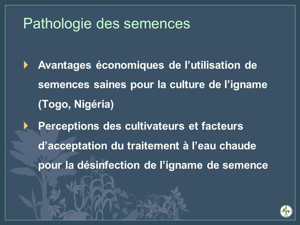 Avantages économiques de lutilisation de semences saines pour la culture de ligname (Togo, Nigéria) Perceptions des cultivateurs et facteurs dacceptation du traitement à leau chaude pour la désinfection de ligname de semence Pathologie des semences