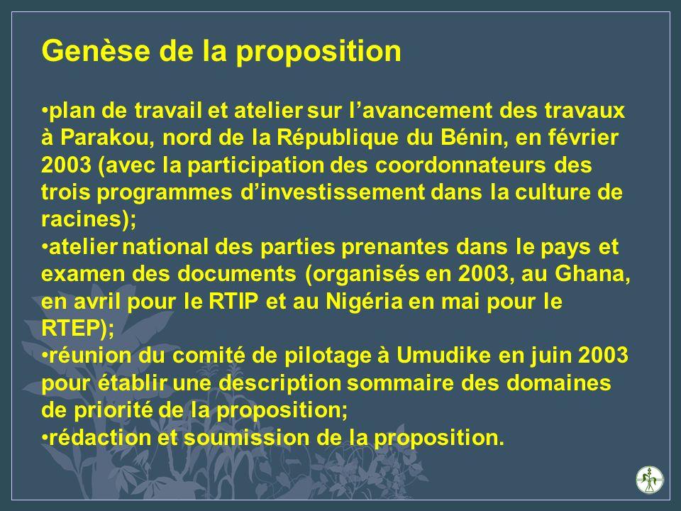 Genèse de la proposition plan de travail et atelier sur lavancement des travaux à Parakou, nord de la République du Bénin, en février 2003 (avec la participation des coordonnateurs des trois programmes dinvestissement dans la culture de racines); atelier national des parties prenantes dans le pays et examen des documents (organisés en 2003, au Ghana, en avril pour le RTIP et au Nigéria en mai pour le RTEP); réunion du comité de pilotage à Umudike en juin 2003 pour établir une description sommaire des domaines de priorité de la proposition; rédaction et soumission de la proposition.