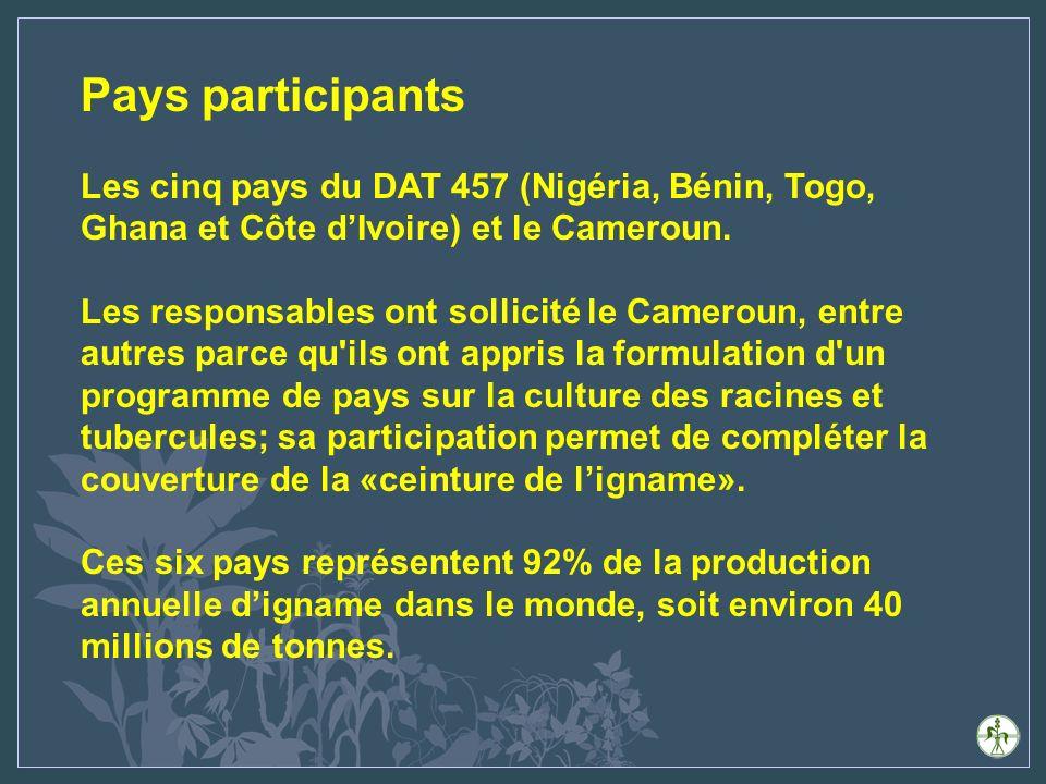 Pays participants Les cinq pays du DAT 457 (Nigéria, Bénin, Togo, Ghana et Côte dIvoire) et le Cameroun.