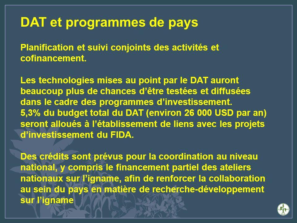DAT et programmes de pays Planification et suivi conjoints des activités et cofinancement.