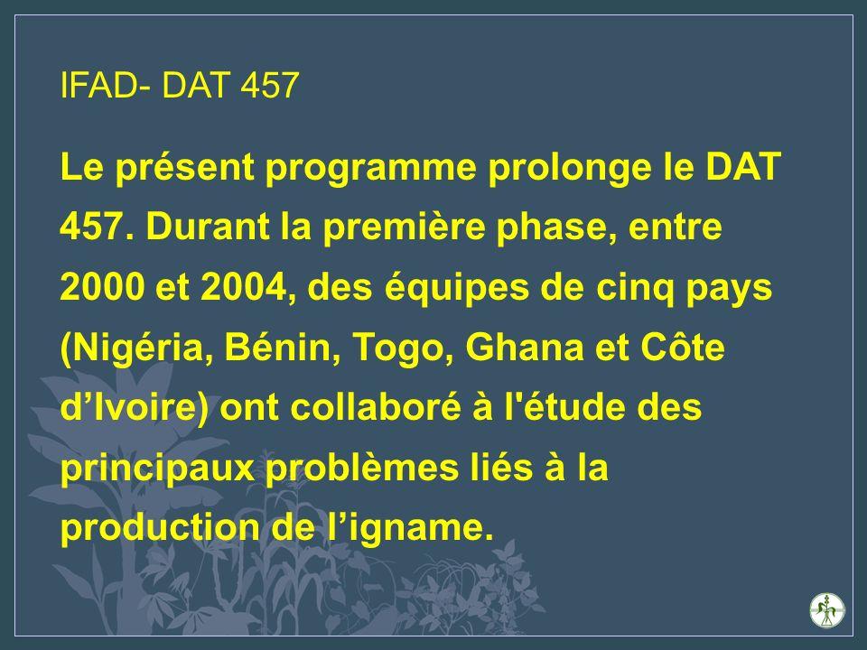 Objectifs du DAT 457 Accroître les disponibilités en: technologies permettant daméliorer/ préserver la fertilité des sols et de lutter de manière durable contre les ravageurs (y compris les mauvaises herbes) et les maladies; variétés améliorées des principales espèces digname cultivées en Afrique de lOuest; technologies daprès-récolte améliorées.