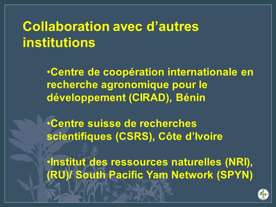 Collaboration avec dautres institutions Centre de coopération internationale en recherche agronomique pour le développement (CIRAD), Bénin Centre suisse de recherches scientifiques (CSRS), Côte dIvoire Institut des ressources naturelles (NRI), (RU)/ South Pacific Yam Network (SPYN)