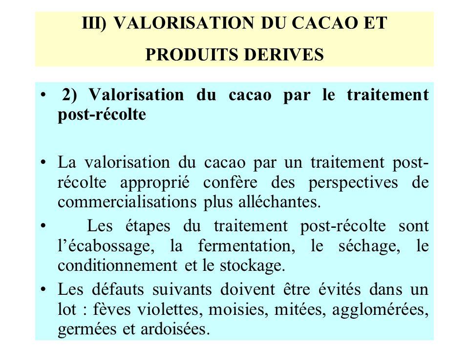 III) VALORISATION DU CACAO ET PRODUITS DERIVES 2) Valorisation du cacao par le traitement post-récolte La valorisation du cacao par un traitement post- récolte approprié confère des perspectives de commercialisations plus alléchantes.