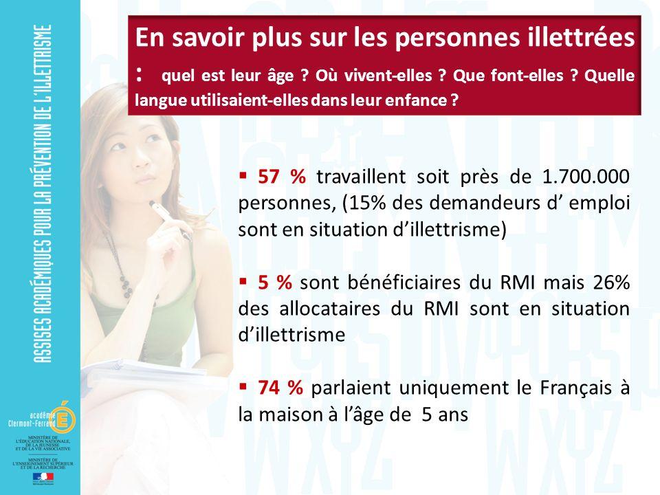 57 % travaillent soit près de 1.700.000 personnes, (15% des demandeurs d emploi sont en situation dillettrisme) 5 % sont bénéficiaires du RMI mais 26% des allocataires du RMI sont en situation dillettrisme 74 % parlaient uniquement le Français à la maison à lâge de 5 ans