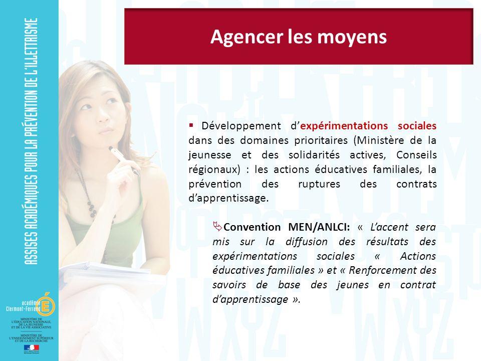 Développement dexpérimentations sociales dans des domaines prioritaires (Ministère de la jeunesse et des solidarités actives, Conseils régionaux) : les actions éducatives familiales, la prévention des ruptures des contrats dapprentissage.