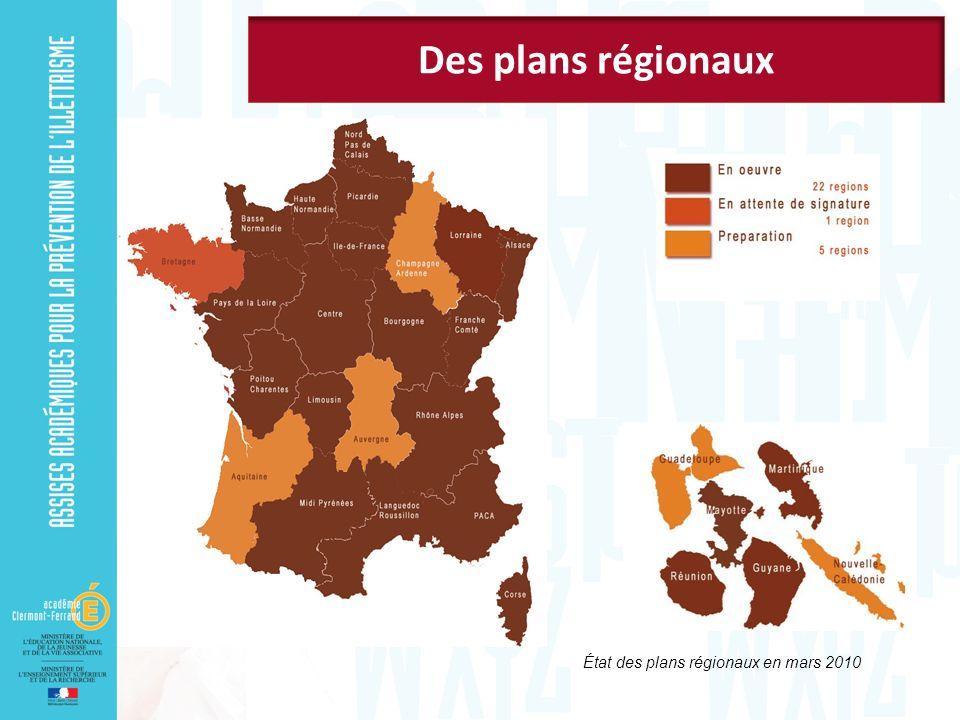 État des plans régionaux en mars 2010