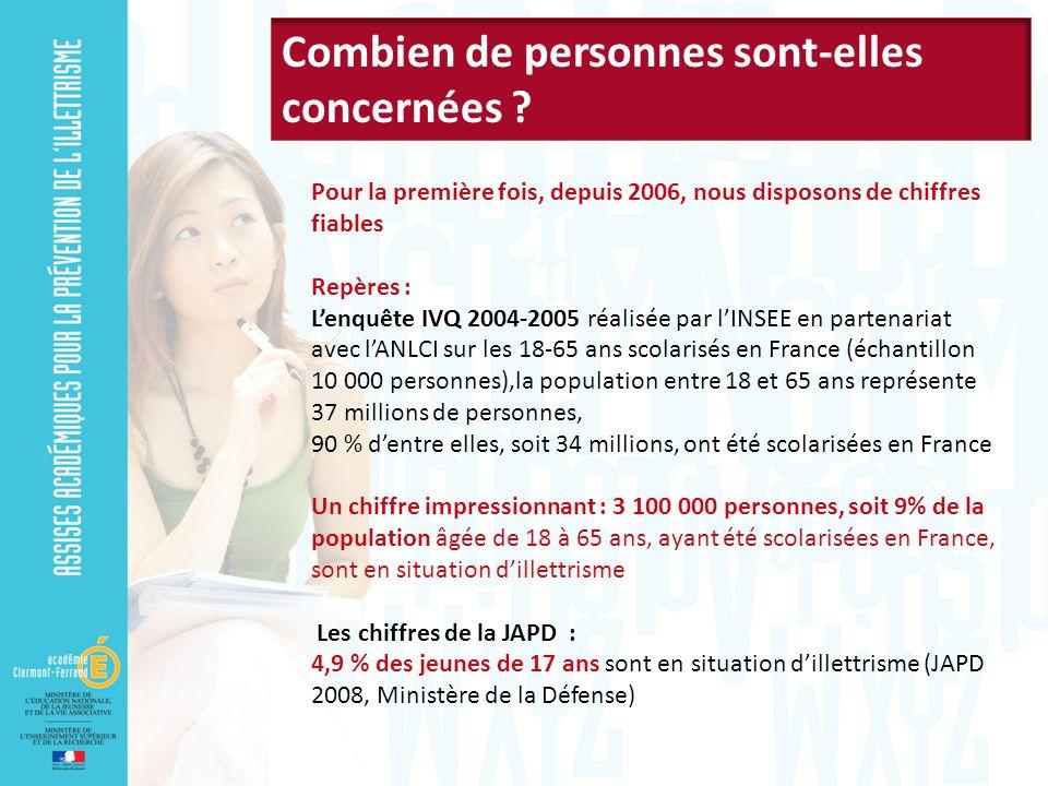 Pour la première fois, depuis 2006, nous disposons de chiffres fiables Repères : Lenquête IVQ 2004-2005 réalisée par lINSEE en partenariat avec lANLCI sur les 18-65 ans scolarisés en France (échantillon 10 000 personnes),la population entre 18 et 65 ans représente 37 millions de personnes, 90 % dentre elles, soit 34 millions, ont été scolarisées en France Un chiffre impressionnant : 3 100 000 personnes, soit 9% de la population âgée de 18 à 65 ans, ayant été scolarisées en France, sont en situation dillettrisme Les chiffres de la JAPD : 4,9 % des jeunes de 17 ans sont en situation dillettrisme (JAPD 2008, Ministère de la Défense)