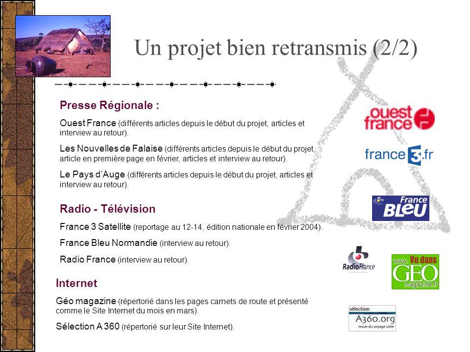 Un projet bien retransmis (2/2) Presse Régionale : Ouest France (différents articles depuis le début du projet, articles et interview au retour). Les