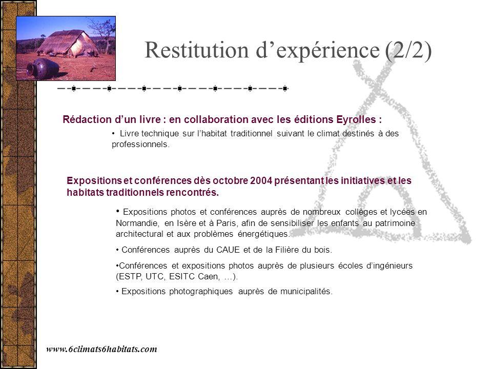 Restitution dexpérience (2/2) Expositions et conférences dès octobre 2004 présentant les initiatives et les habitats traditionnels rencontrés. Exposit