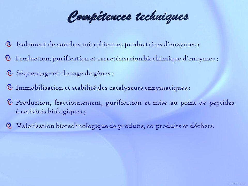 Isolement de souches microbiennes productrices denzymes ; Valorisation biotechnologique de produits, co-produits et déchets. Production, purification