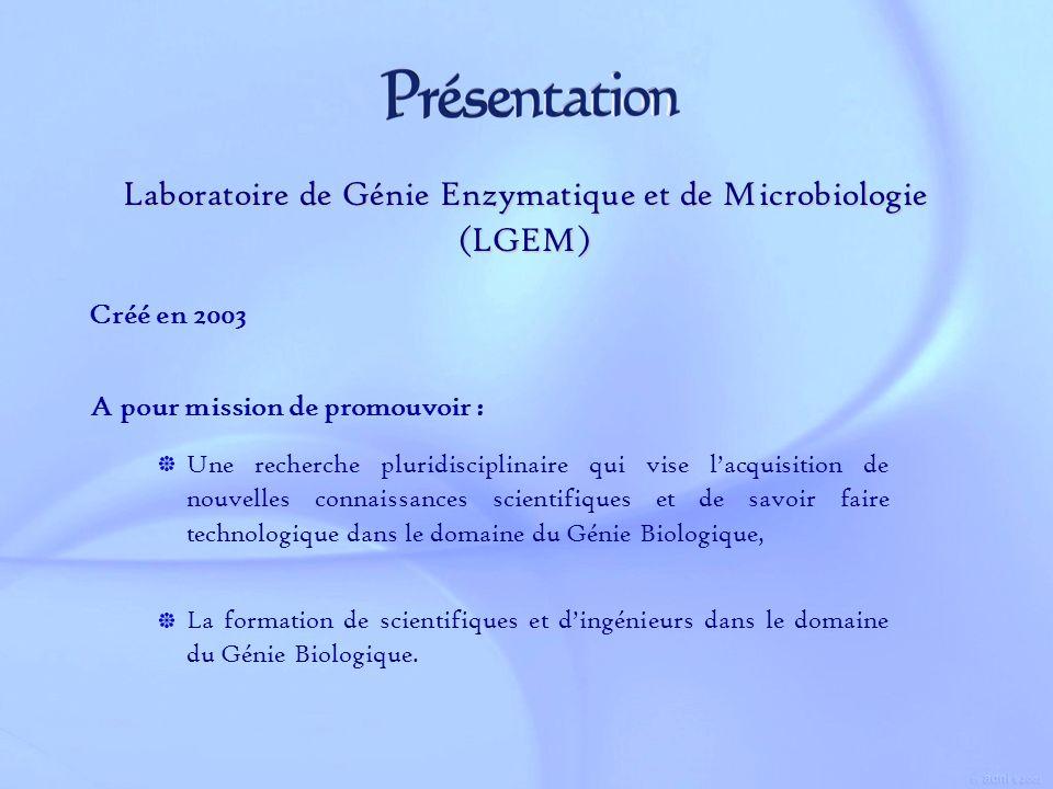 A pour mission de promouvoir : Laboratoire de Génie Enzymatique et de Microbiologie (LGEM) Créé en 2003 La formation de scientifiques et dingénieurs d
