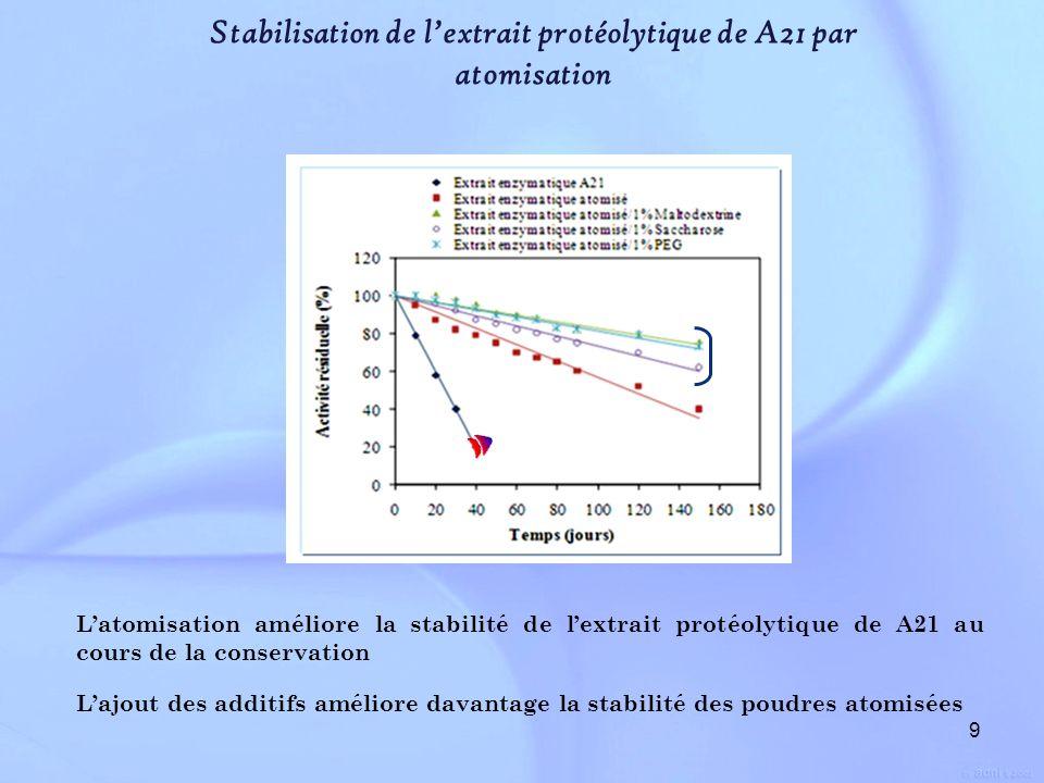 9 Stabilisation de lextrait protéolytique de A21 par atomisation Latomisation améliore la stabilité de lextrait protéolytique de A21 au cours de la co